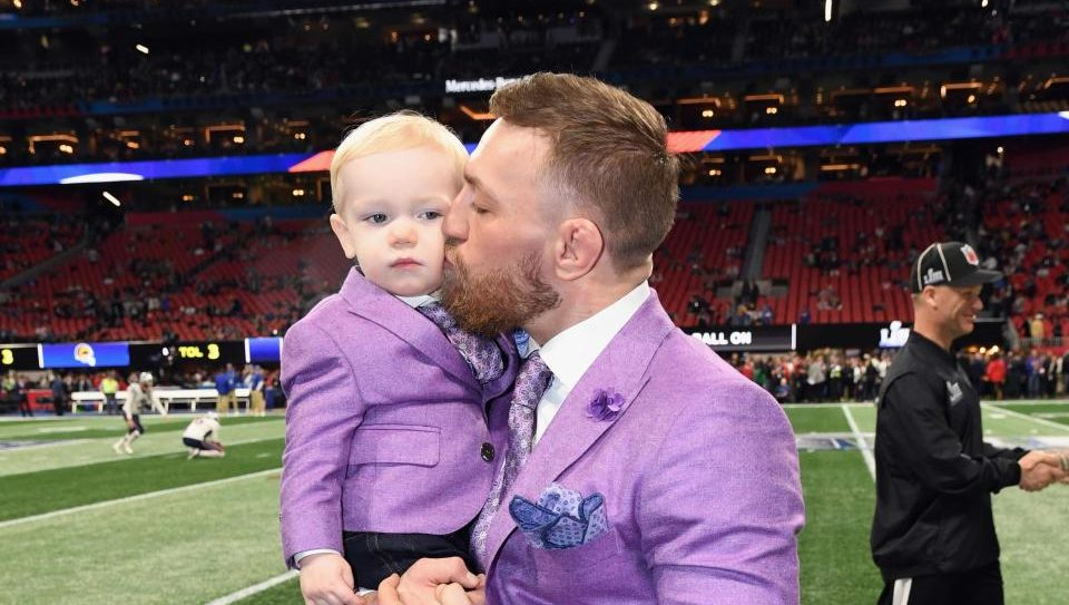 Conor McGregor cuts a dashing figure at the Super Bowl despite paternity rumours