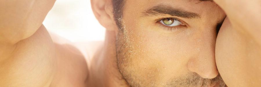 Closeup portrait of a beautiful male model